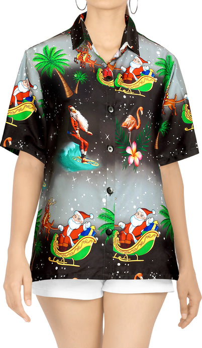 LA LEELA Christmas Womens Hawaiian Blouse Shirt Relaxed Fit Tropical Beach Shirt Printed