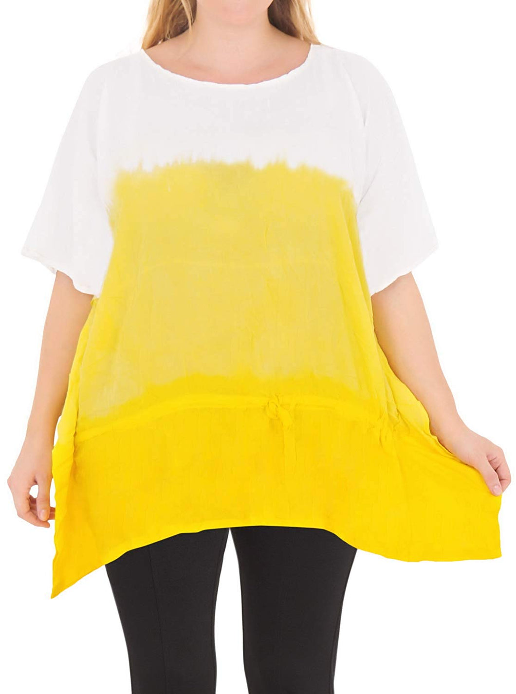 Casual Loose Fit Plus Size Kimono Loose Beachwear Women's Top Yellow 14 - 18