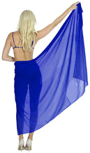 Load image into Gallery viewer, la-leela-womens-beach-cover-up-sarong-swimsuit-cover-up-solid-pareo-sheer-chiffon