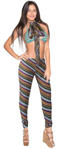 la-leela-cotton-one-size-stretchy-leggings-tassels-scarf-abstract-elegant-pant