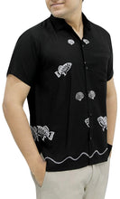 Load image into Gallery viewer, LA LEELA Shirt Casual Button Down Short Sleeve Beach Shirt Men Embroidered 179