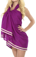 "Load image into Gallery viewer, LA LEELA Cotton Swimsuit Cover Up Long Dress Sarong Solid 78""X39"" Violet_2144"