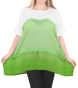 Loose Fit Plus Size Loose Beachwear Casual Blouse Women's Top Green 14 - 18