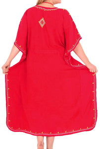 Beachwear Swimwear Swimsuit Embroidered Blouse Bikini Caftan Cover up Dress Red