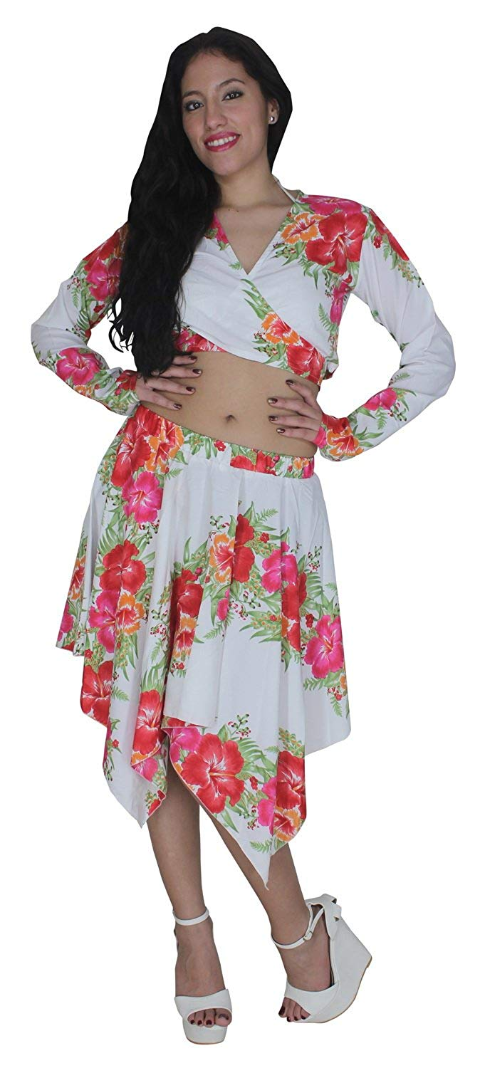 la-leela-beach-cover-ups-likre-flower-printed-long-sleeve-top-white-pink-red