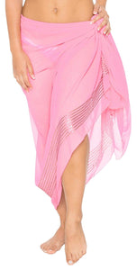 La Leela Sheer Sequin Embroidered Beach Swim Hawaiian Pareo Sarong Light Pink,One Size
