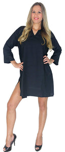 LA LEELA Rayon Solid Beachwear Loose Cover Up OSFM 10-14 [M-L] Black_4960