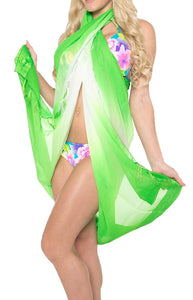 LA LEELA Women Bikini Cover up Wrap Swimwear Sarong Satin_Stripe ONE Size