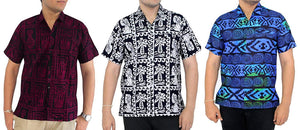 LA LEELA Shirt Casual Button Down Short Sleeve Beach Shirt Men Pocket Batik 24