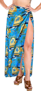 LA LEELA Beach Bikini Cover up Wrap Maxi Women Bathing Suit Sarong 19 ONE Size
