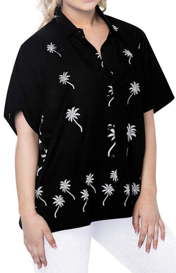 Women Hawaiian Shirt Casual Embroidery Blouses Workwear Short Sleeve Dress Top