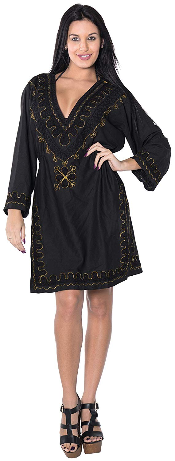 la-leela-rayon-womens-caftan-style-summer-beachwear-bathing-suit-cover-up-dress