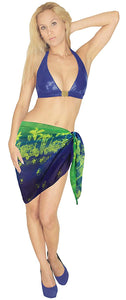 LA LEELA Women Beachwear Mini Sarong Bikini Cover up Wrap Dress Printed