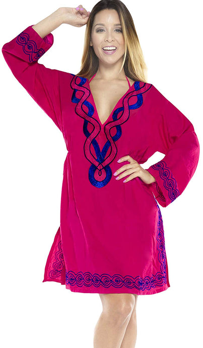 LA LEELA Rayon 01 Solid Women's Caftan Kimono Nightgown Beachwear Cover up Dress