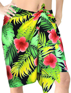 LA LEELA Swimsuit Cover-Up Sarong Beach Wrap Skirt Hawaiian Sarongs for Women Plus Size Short Half Mini ZZ