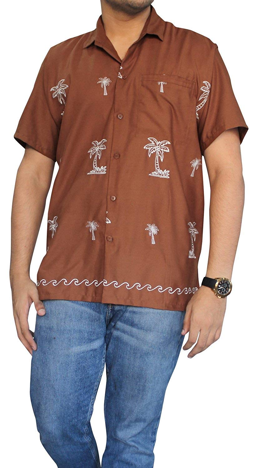 LA LEELA Shirt Casual Button Down Short Sleeve Beach Shirt Men Embroidered 189