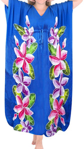 Women's Beachwear Sleeveless Rayon Cover up Dress Casual Caftans Multi  Blue
