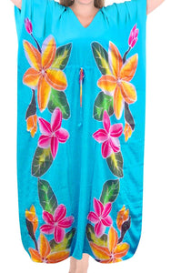 Womens Beachwear Sleeveless Rayon Cover up Dress Casual Caftans Multi Turquoise