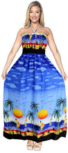Load image into Gallery viewer, la-leela-soft-printed-vacation-tube-dress-womens-bright-blue-283-one-size