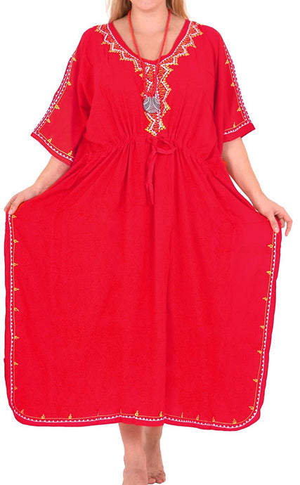 Beachwear Swimwear Swimsuit Embroidered Blouse Bikini Caftan Cover ups LOOSE Red