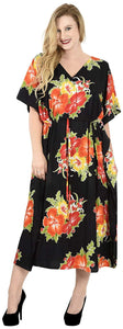 La Leela Soft Likre Kimono Hibiscus Beach Casual Nightwear Long Caftan Dress