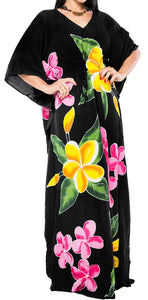 Women's Beachwear Sleeveless Rayon Cover up Dress Casual Caftans Multi Black