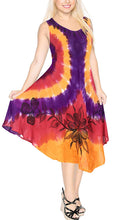 Load image into Gallery viewer, La Leela Smooth Rayon Swirl Hand Tie dye Embroidered Casual Short Beach Dress