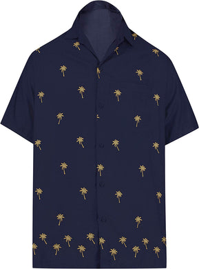 LA LEELA Shirt Casual Button Down Short Sleeve Beach Shirt Men Embroidered 170
