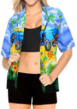 Load image into Gallery viewer, LA LEELA Women's Beach Blouse Button Down Relaxed Camp Casual Shirt Hibiscus