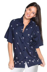 LA LEELA Women's Beach Button Down Short Sleeve Camp Casual Blouse Palm Tree