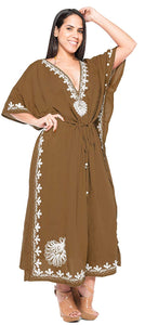 LA LEELA Rayon  Solid Women's Caftan Style Nightgown Beachwear Dress Cover up