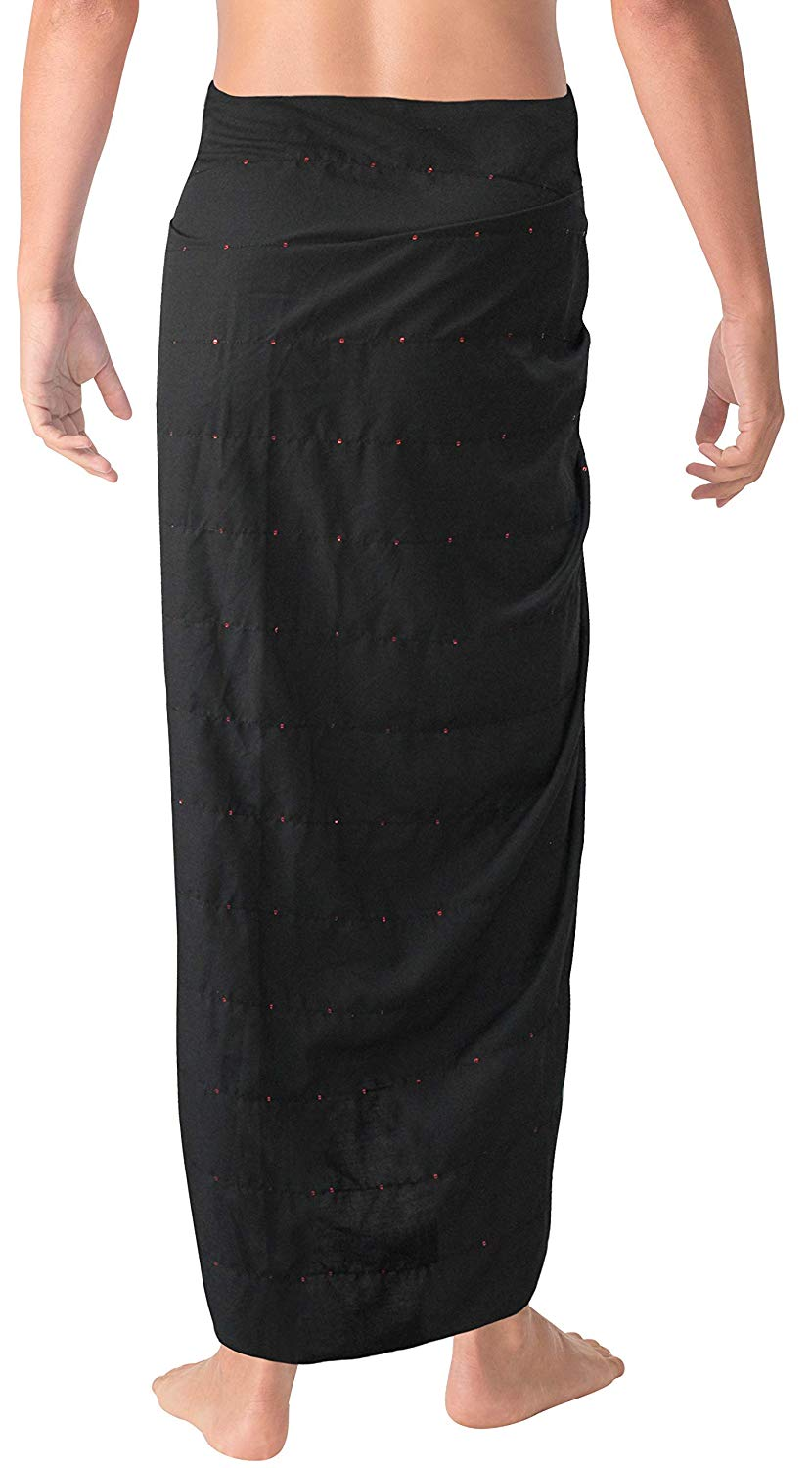 bf45c382c0d5 LA LEELA Gentle Smooth Rayon Embroidered Sequin Men Pareo Sarong Wrap 78X41  Inch