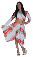 Load image into Gallery viewer, la-leela-beach-cover-ups-likre-flower-printed-long-sleeve-top-white-pink-red
