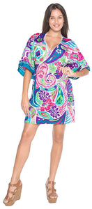 LA LEELA Bikini Swim Beach wear Swimsuit Cover up Women Kimono Dress Printed