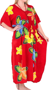 Women's Beachwear Sleeveless Rayon Cover up Dress Casual Caftans Multi  Red