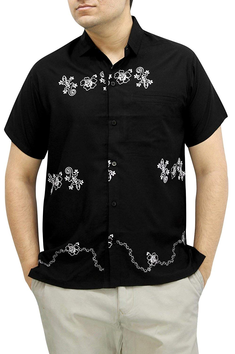 04cce73043180 ... Load image into Gallery viewer, LA LEELA Shirt Casual Button Down Short  Sleeve Beach Shirt ...