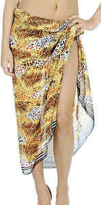 LA LEELA Women Beachwear Bikini Wrap Cover up Swimsuit Sarong Dress 20 ONE Size