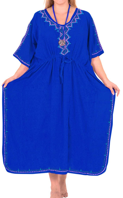 Beachwear Swimwear Embroidered Blouse Bikini Caftan Cover ups LOOSE Blue