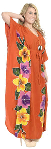LA LEELA Printed Long Maxi Dress Plus Size Swimwear Bathing Suit Cover up Caftan