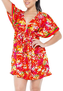 LA LEELA Coverup Beach Bikini Swimwear Swimsuit Caftan Dress Women Printed