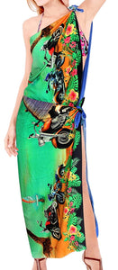 LA LEELA Women Bikini Cover up Wrap Dress Swimwear Sarong Digital Plus Size