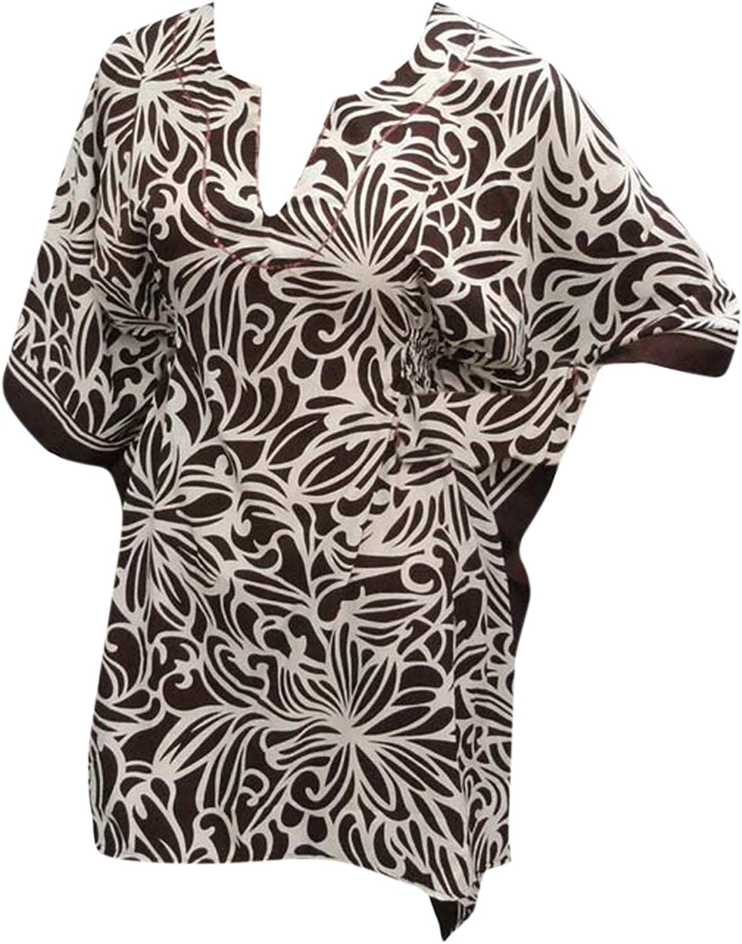 LA LEELA Soft Fabric Printed Cruise Cardigan Cover Up OSFM 8-14 [M-L] Brown_2241
