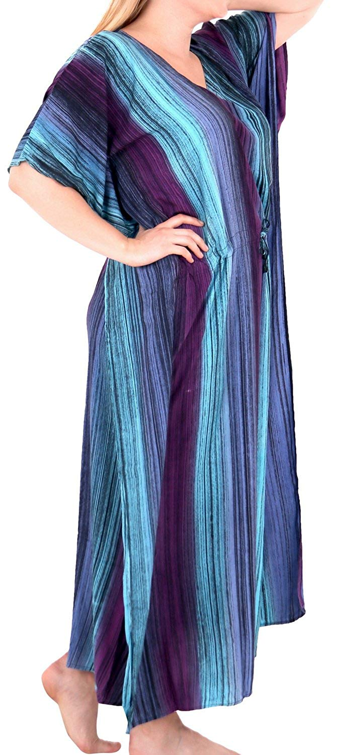 Women's Tie Dye Casual Sleeveless Rayon Casual Caftan Multi Cover up Green