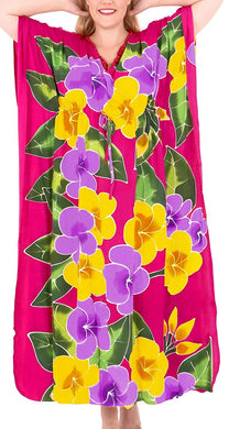 Women's Designer Hand Painted Swimwear Beach Dress Bikini Cover up Pink Caftans