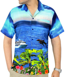 LA LEELA Men's Aloha Hawaiian Shirt Short Sleeve Button Down Casual Beach Party