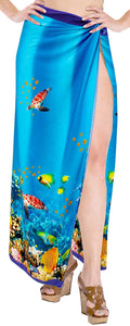 LA LEELA Women Beachwear Bikini Cover up Wrap Dress Swimwear Sarong 17 ONE Size