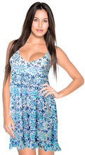 Load image into Gallery viewer, womens-swimwear-dress-bikini-beach-cover-ups-printed-white-blue-caftan-us-xs