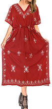 Load image into Gallery viewer, la-leela-rayon-solid-drawstring-dress-osfm-14-30-l-5x-red_3595