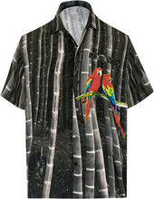 Load image into Gallery viewer, LA LEELA Shirt Casual Button Down Short Sleeve Beach  parrot printed Shirt Men Pocket HD Black