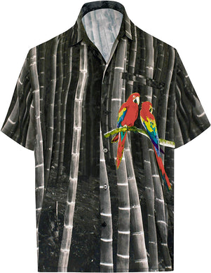 LA LEELA Shirt Casual Button Down Short Sleeve Beach  parrot printed Shirt Men Pocket HD Black